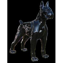 Statue Dogue noir laqué...