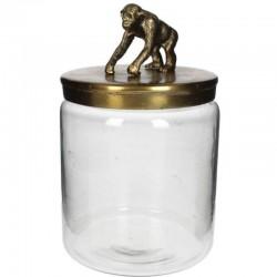 Pot avec couvercle singe