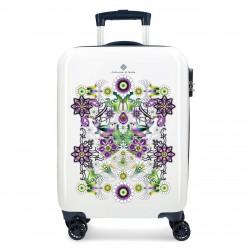 Valise cabine blanche à fleurs